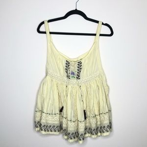 Free People Embroidered lace babydoll tank